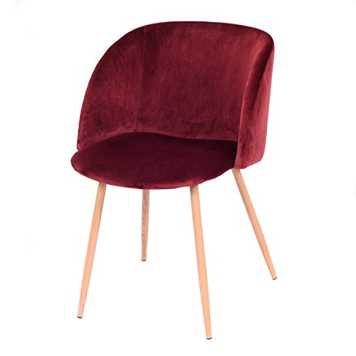 Giantex Set Of 2 Mid-Century Velvet Accent Arm Chair Sofa Lounge Club Chair Steel Legs (Red Wine)
