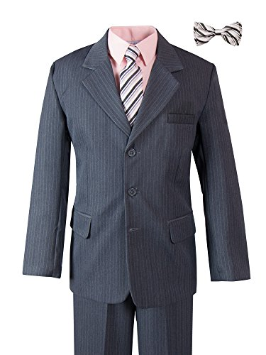 Pinstripe Grey Suit with Matching Tie and Bow Tie 8 Grey-Pink ()