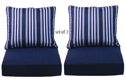 Comfort Classics Inc. Set of 2 Deep Seating Outdoor Dining Chair Cushion Pillow 24 W x 27 L x 5 T Seat 24 W x 24 L x 6 T in Spun Polyester Fabric Peacoat Stripe