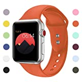YOUKEX Sport Band For Apple Watch,Soft Silicone Strap Replacement Wristbands For Apple Watch Sport Series 3 Series 2 Series 1 NIKE+ Sports and Edition (Orange 38mm S/M)