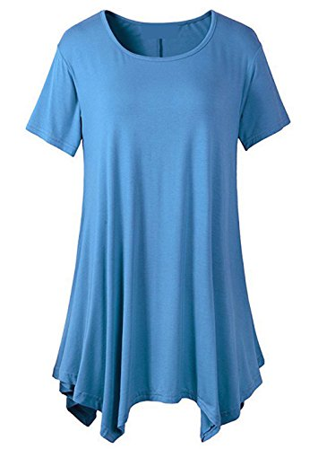 [LONSANT Womens Swing Loose Fit Short Sleeve Comfy Tunic T Shirt (XXL, Light Blue)] (1920s Beach Costume)