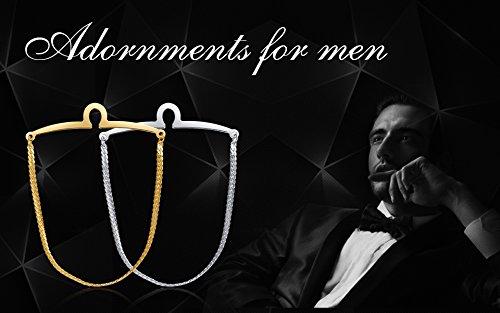 Yoursfs Tie Chain Polish Loop Men's Double Color Link Chain 2pcs Cravat Collar tie Clip by Yoursfs (Image #7)