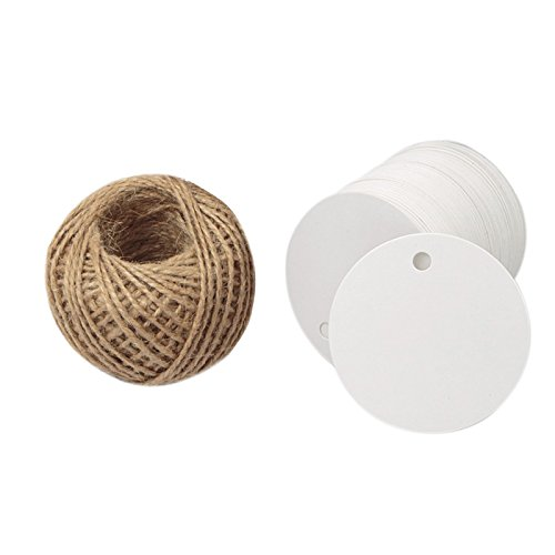 Kraft Paper Round Gift Tags,White Gift Wrap Tags with String,Blank Gift Tag,KINGLAKE 100 Pcs 5.5cm Wedding Craft Tags with 100 Feet Natural Jute Twine