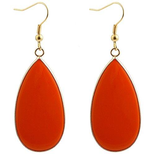 - SUNYIK Women's Orange Crystal Glass Round Teardrop Dangle Earrings