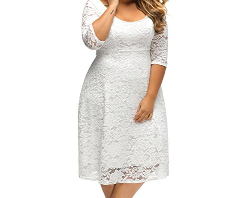 YeeATZ White Floral Lace Sleeved Fit and Flare Curvy Dress(Size,2XL)