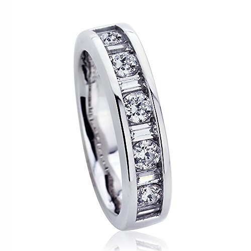 Channel Set Stackable (Platinum Plated Sterling Silver Round & Baguette CZ Channel Set Stackable Band Ring ( Size 5 to 9 ), 5)