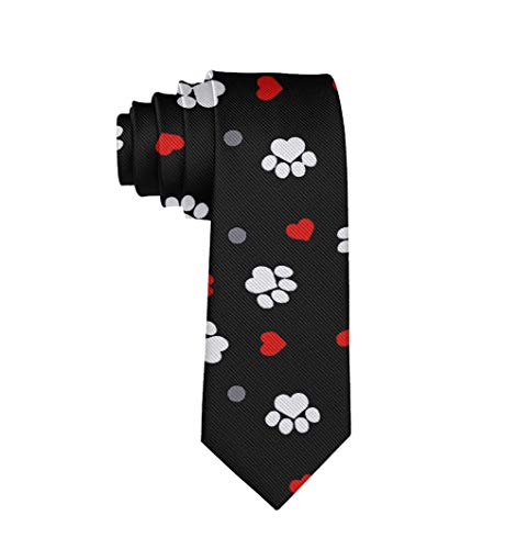 Casual Durable Polyester Men Boy Paw Prints And Hearts On Black Necktie Slim Necktie Gift For Party Business Uniform Wedding