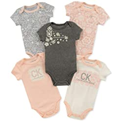 Calvin Klein Baby Girls' Assorted Short Sleeve Bodysuit (Pack of 5) 9