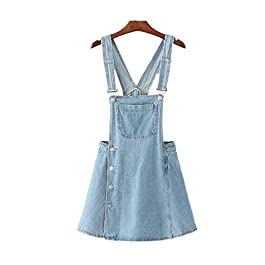 Denim Overall Dress Women's Classic Adjustable Strap Dress with Pocket