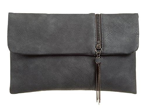 Envelope Charcoal Style Ladies Girls Women's Bag Handbag Zip Front Faux Leather KT998 Clutch amp; Evening 6CUw60Y