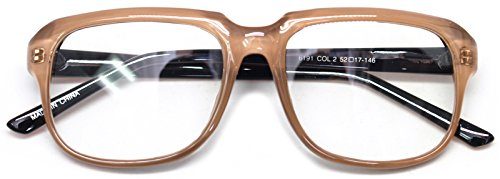 Square Horn Rim Eyeglasses Clear Lens Nerd Spectacles Classic Geek Glasses 60191 (Beige, - Glasses Prescription Nerd Big