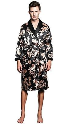 SexyTown Long Satin Lounge Print Bathrobe Men's Charmeuse Sleepwear with Pockets