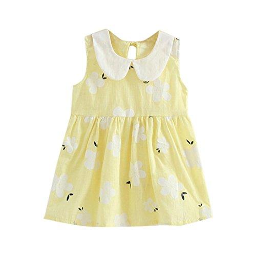 Sakura Imprimée Robe de Filles,LMMVP Filles Toddler Fleur Imprimée Robe de Princesse d'été Jupe de Mariage Pour Bébé Robes Sans Manches 2-7T (90(2-3T), Mode rose) Mode jaune