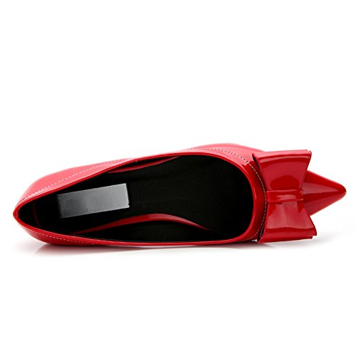 Donna Vendita Calda Slip On Scarpe A Punta Tacco Piatto Pompa Con Bowknot Rosso