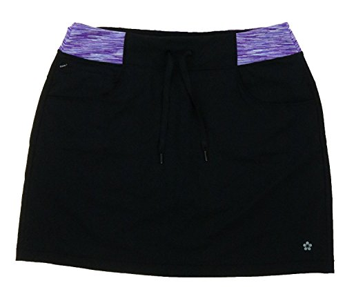 Tuff Women's Athletic Active Yoga Skort (Medium, Black / Purple Space Dyed) by Tuff Athletics