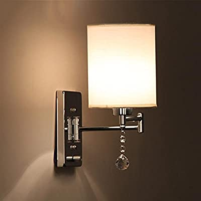 CGJDZMD Wall Sconce Modern Reading E27 Polished Chrome Wall Lamp Adjustable Metal Swing Arm with Cloth Lampshade Crystal Ball Ornament Dimmer Switch Living Room Bedroom Hotel Bedside Wall Spotlights