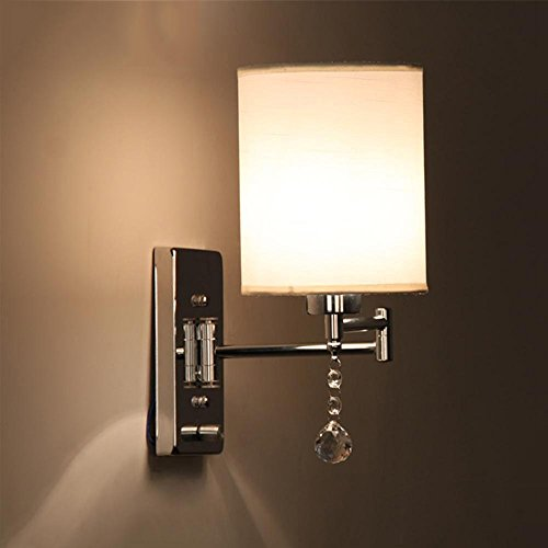 CGJDZMD Wall Sconce Modern Reading E27 Polished Chrome Wall Lamp Adjustable Metal Swing Arm with Cloth Lampshade Crystal Ball Ornament Dimmer Switch Living Room Bedroom Hotel Bedside Wall (Lighthouse Pewter Ornament)