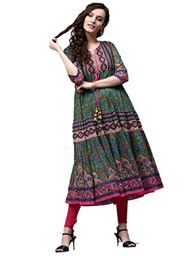(Dream Angel Fashion Womens Tunic Top to Wear with Leggings Kurta Kurtis Indian Party Wear (Green & Pink, XX-Large-42))