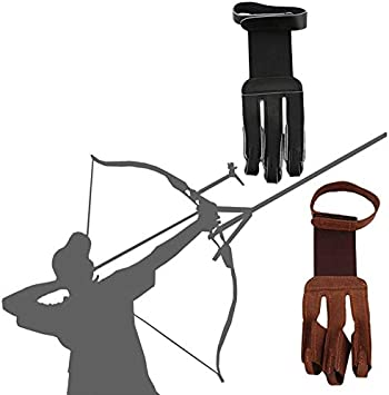 SHOOTING LEATHER GLOVES BOW ARCHERS LEATHER SHOOTING 3 FINGERS GLOVE HUNTING