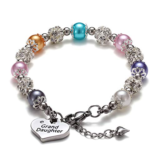 (VINJEWELRY Granddaughter Bracelet Rainbow Multicolor Pearl with Heart Charm Birthday Gifts for Girls)