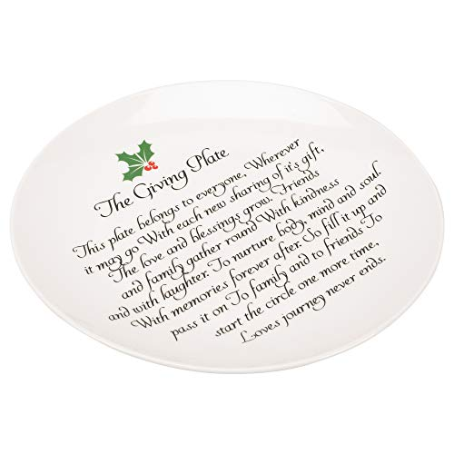 Giving Plate Holly Berry Classic White 11 x 11 Glossy Ceramic Accent Plate