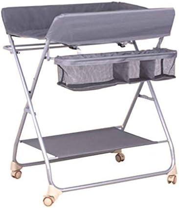 収納付き折りたたみ式おむつ交換台、 新生児用化粧台 携帯用おむつ管理者、 クロスレッグ ロック可能な車輪を使って (グレー)