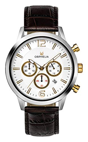 ORPHELIA Tempo OR81801 Men's Watch 43mm,Leather Brown Strap Japanese Quartz