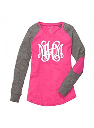 Boxercraft Women's Preppy Patch Long Sleeve Shirt Personalized MONOGRAMMED Hot Pink Grey