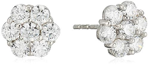 """14K White Gold Stud Earrings CZ Cubic Zirconia Flower Round Invisible Setting Highest Quality Studs 1/4"""""""