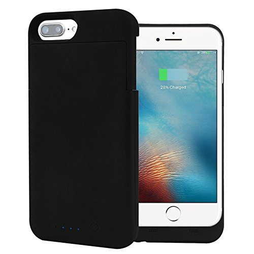 Battery Charger Case for Iphone 7 Plus 4000mAh Cell Phone Battery Pack, Back Up Power Bank, Portable Charging Case, Black