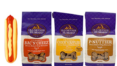 Old Mother Hubbard All Natural Oven-Baked Classic Mini Dog Biscuits 3 Flavor Variety with Toy Bundle, (1) Each: Bac'N…