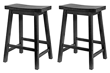 Swell Winsome Wood 24 Inch Saddle Seat Counter Stool Black Pack Of 2 Pabps2019 Chair Design Images Pabps2019Com