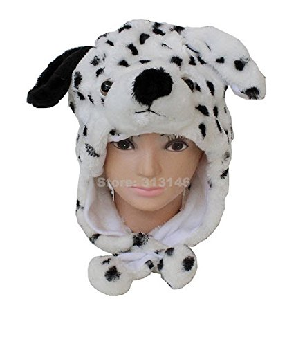 Jack Daniels Dog Costume (Cute Funny Plush Faux Fur Animal Stuffed Beanie Hood Hat Winter Adult Womens Mens Children Kids Boys Girls Warm Cosplay Costume (Dalmatian Dog))