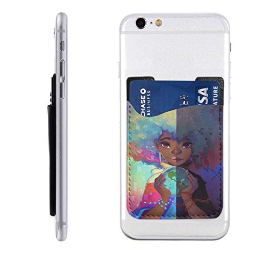 - Girl Magic Crystal Earth Ball Painting Silicone 3M Adhesive Stick-on ID Credit Card Wallet Phone Case Pouch Sleeve Pocket