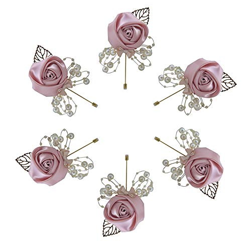 (Buery 6 Pieces/lot Wedding Boutonniere Handmade Rose Boutonniere Corsage with Pin, Lapel Pin Rose Wedding Boutonniere for Wedding Prom Party Decor (European Gold))