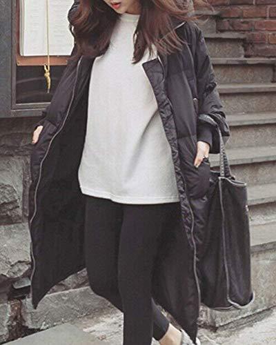 Taille Zipper Manteaux Parti Stylo Targogo Longues Veste Manches Plus Chaud Automne Capuche Manteau Copain Rembourrée À Colmar Femme Schwarz Poches Hiver Casual Mode La Vintage xH404Bqg