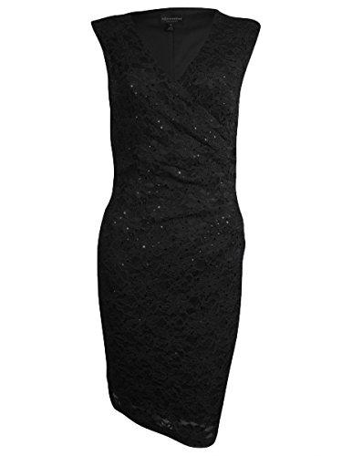 Connected Women's Surplice Sequined Lace Dress (24W, Black) (Surplice Sequined)
