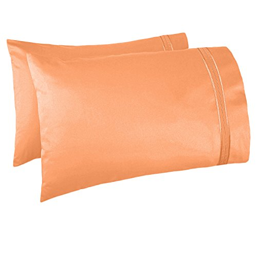 Nestl Bedding Soft Pillow Case Set of 2 - Double Brushed Microfiber Hypoallergenic Pillow Covers - 1800 Series Premium Bed Pillow Cases, Standard/Queen - Apricot Buff Orange