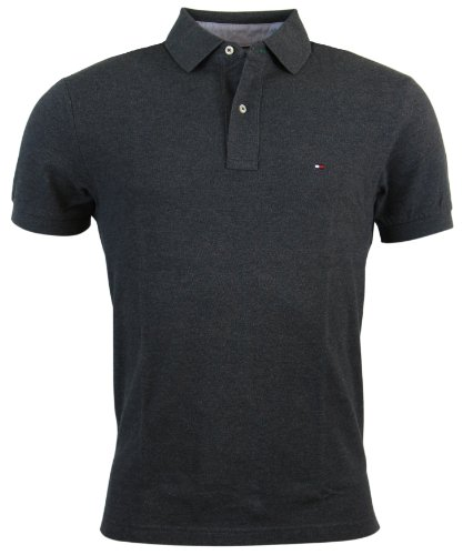 Tommy Hilfiger Men's Classic Fit Solid Color Short Sleeve Logo Polo Shirt - XS - Dark - Pique Rugby Sleeve Short
