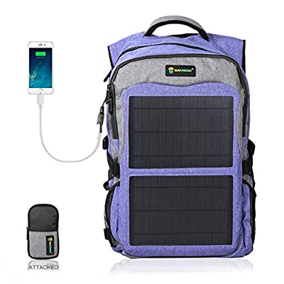 SUNKINGDOM portable hiking Powered Waterproof Anti-theft Durable Laptop solar Backpack,highest 12W(Watts) Solar Panel Charge with two USB voltage controller for Smart Cell Phones and Tablets