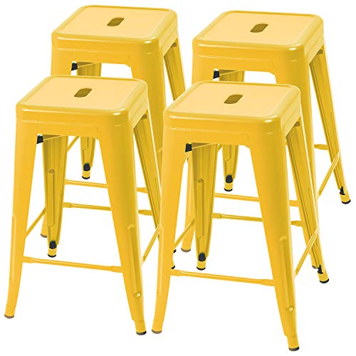 Furmax 24 Inches Metal Bar Stools High Backless Indoor-Outdoor Counter Height Stackable Stools Set of 4(Yellow)