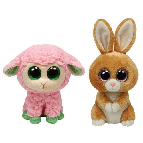 Ty Beanie Boos Carrots Brown Bunny and Babs Pink Lamb Gift Set