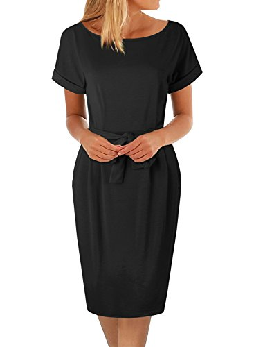 Women's Pencil Dress Knee Length Business Casual Belted Elegant Party Dresses with Pockets (XL, BK366-Black) by BOKALY