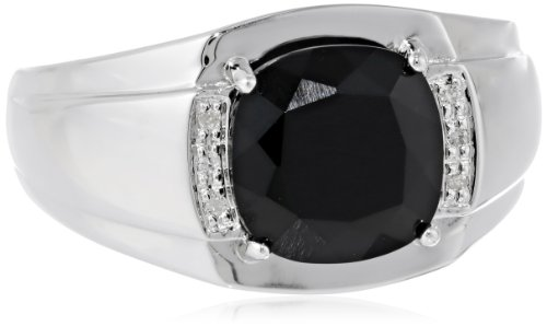 (Men's Sterling Silver Onyx and Diamond-Accented Ring, Size)