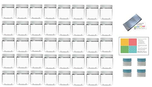 Four Plastic Jars - Clear 4 Ounce PET Round Plastic Jars with White Lids, 4 Mini Jars and Shrink Wrap, 40 Pack