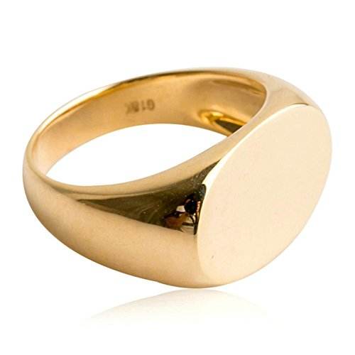Bishilin 18K(750) Gold Men's Ring High Polished Oval Partner Rings Gold Size 8.5 by Bishilin
