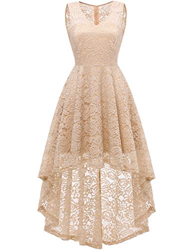 DRESSTELLS Women's Wedding Dress V-Neck Floral Lace Hi-Lo Bridesmaid Dress Champagne L