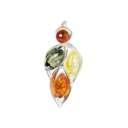 HolidayGiftShops Sterling Silver and Baltic Multicolored Amber Pendant April
