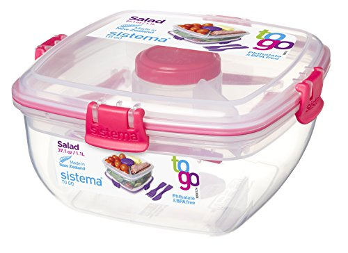 Sistema To Go Collection Salad to Go Food Storage Container, 37 oz, Pink