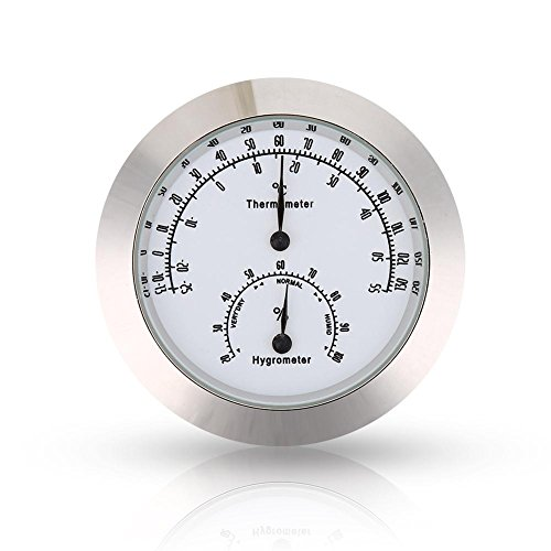 Guitar Thermometer Hygrometer Round Digital Violin Humidity Temperature Meter for Instrument Care (Silver)